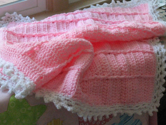 Crocheted Pink  Blanket  That's Soft and Cuddly Just by lchinault, $26.00: Baby Afghans, Crochet Ideas, Baby Bedding, Baby Blanketts, Baby Child Knit Crochet, Afgan Blanket, Crocheted Pink
