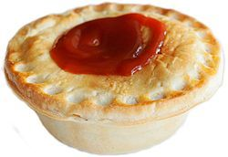 A meat pie with tomato sauce