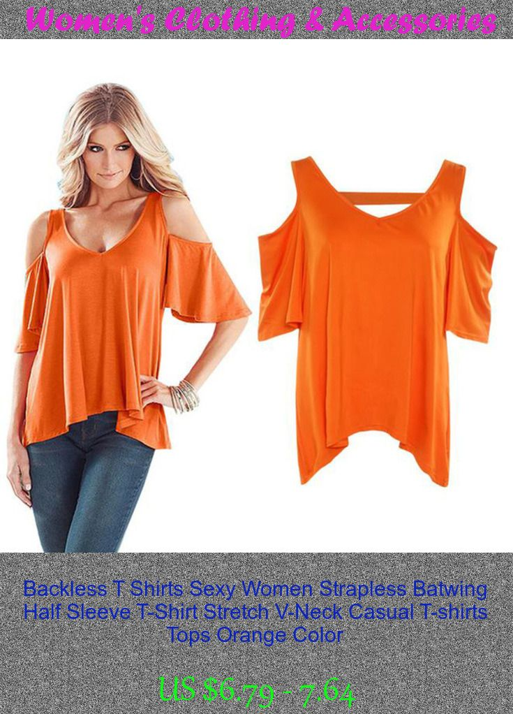Backless T Shirts Sexy Women Strapless Batwing Half Sleeve T-Shirt Stretch V-Neck Casual T-shirts Tops Orange Color