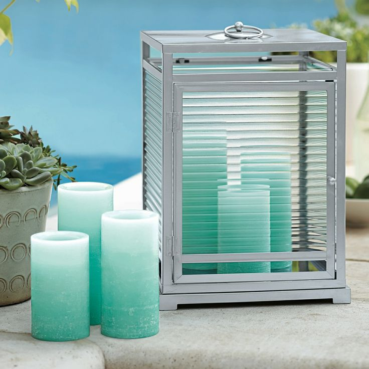 NEW Blue Ombre LED Pillar candles. Enjoy a a carefree summer night. Available March 27.