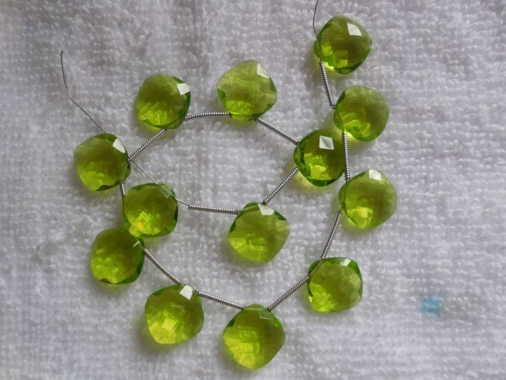 10Psc Peridot Green Quartz Faceted Cushion Briolette,Hydro Quartz Cushion Beads,Jewelry making beads by InternationalByBeads on Etsy