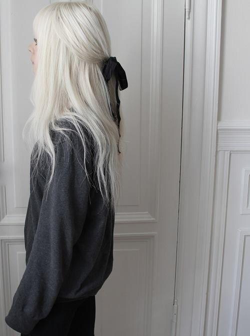 White blonde hair black bow