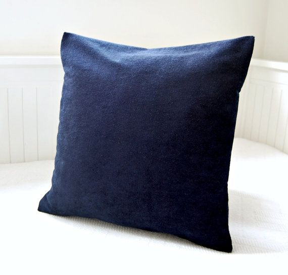 Dark navy blue accent pillow cover, 16 inch solid decorative pillow cover Navy blue, Dark navy ...
