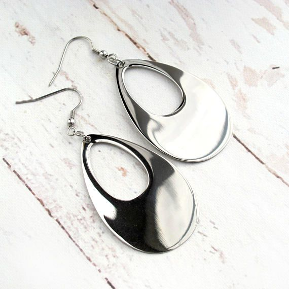 Stainless Steel-Silver Dangle Earrings-Fashion Earrings for Women-Gift for Her-Christmas Gifts for Women-Stocking Stuffers for Her $29.99