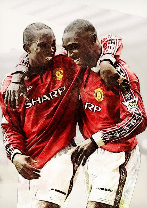 Calypso Boys Andy Cole Dwight Yorke Poster Manchester United Print Football In 2020 Manchester United Legends Manchester United Team Manchester United
