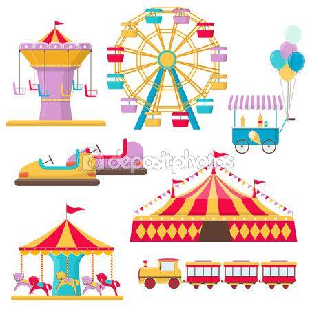 Ensemble d'éléments de parc d'attractions — Illustration #112251334