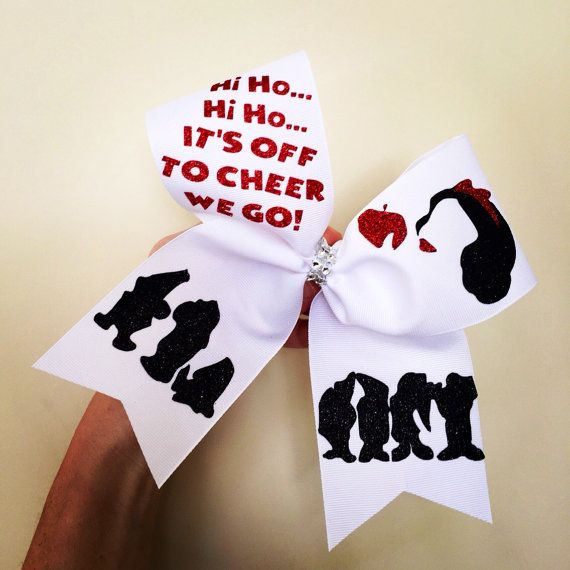 Hi Ho Its off to Cheer We Go white red and black cheer bow
