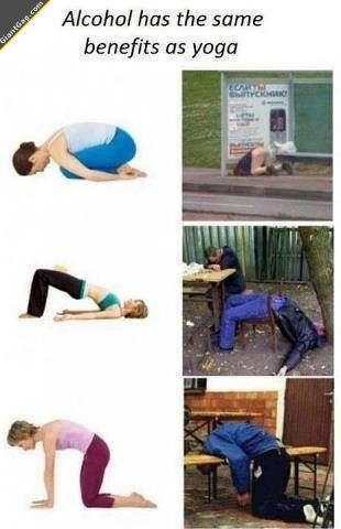 Funny images of the day, 101 pics. Alcohol Vs Yoga