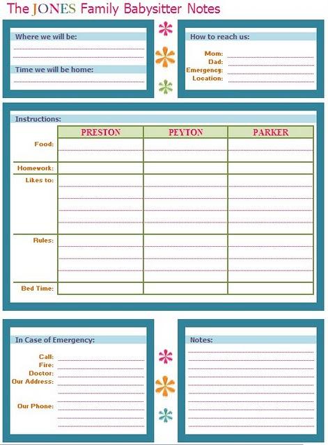 babysitter information sheet printable