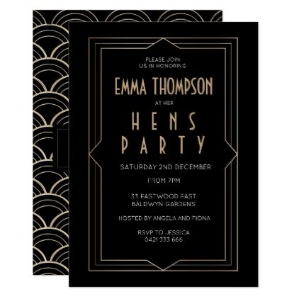 Great Gatsby Art Deco Hens Night Invitation - pattern sample design template diy cyo customize