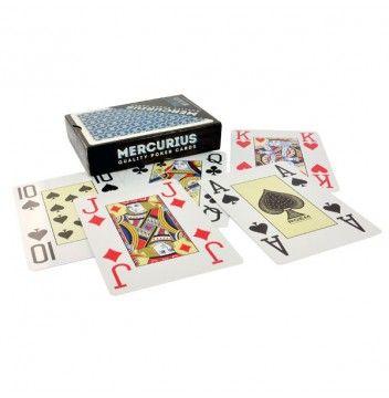 De Mercurius plastic poker kaarten zijn geproduceerd door Roem Speelkaarten.  Deze 100% plastic kaarten voor poker zijn voorzien van grote kaartsymbolen (jumbo index) in alle hoeken van de speelkaart.  Zeer geschikt voor gebruik bij het spel poker. Bij een showdown zijn de kaarten voor iedereen aan de tafel goed zichtbaar.