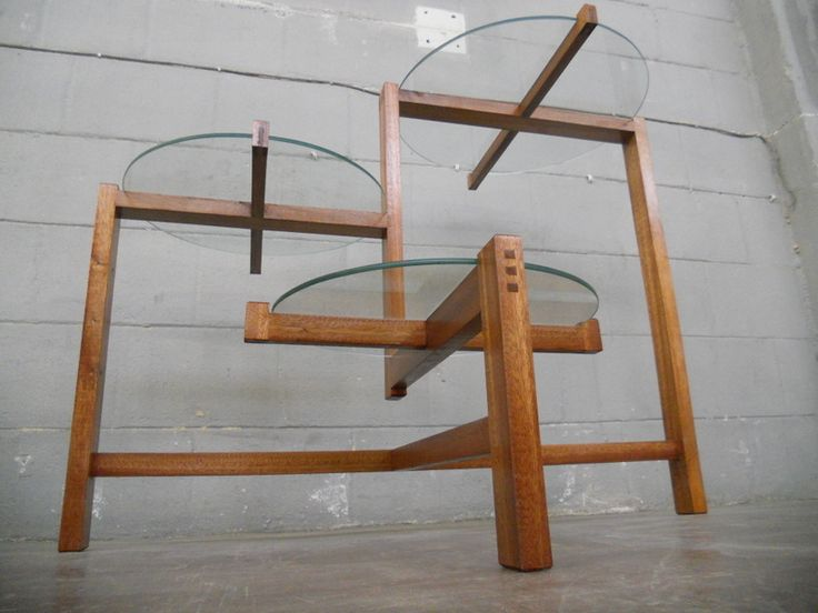 Bonsai or orchid stand in African mahogany.