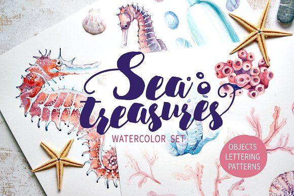 SEA TREASURES Watercolor set by Lemaris on @creativemarket