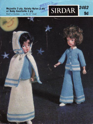Sirdar Sindy Dolls Clothes Knitting Pattern: Trousers, Jacket, Long Skir...