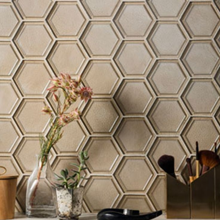 Classy and glamorous hexagon glass tiles in