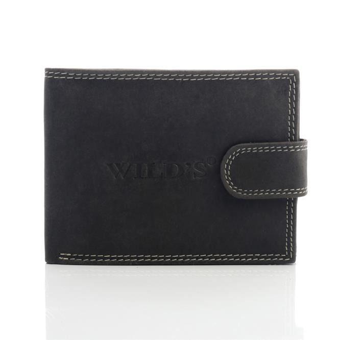 Skórzany portfel męski Wild's czarny/ black leather mans wallet mironti.pl