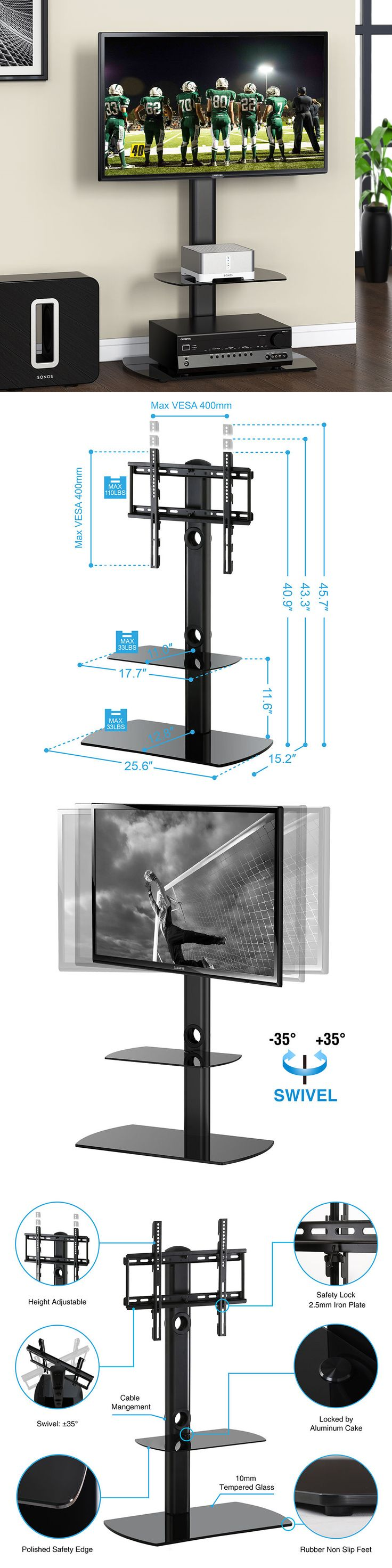 Home shop live tv stands chunky stretch tv stand - Entertainment Units Tv Stands Fitueyes Flat Screen Lcd Tv Stand Shelves With Swivel Mount For