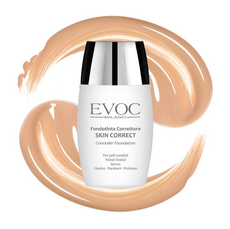 Fondotinta Skin Correct Evoc Milano: Trattamento e colore in un solo gesto. Fondotinta multifunzionale ad alta copertura con effetto correttivo, indicato per tutti i tipi di pelle.