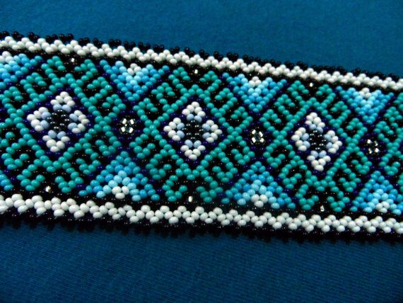 Huichol Bracelet and Hoop Earrings Turquoise Blues by ManoDeGato