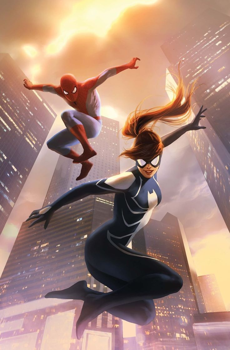 Spider-Woman II aka Arachne (Julia Carpenter) and Spider-Man - Marvel Comics