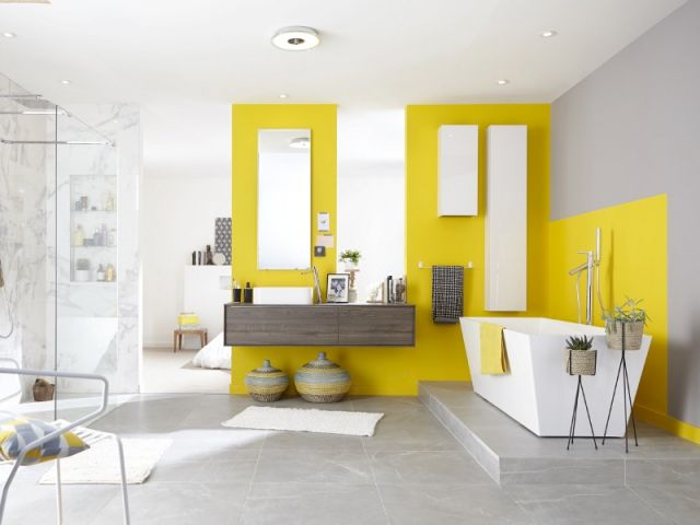 135 best images about salle de bain d co r no on pinterest for Carrelage salle de bain jaune