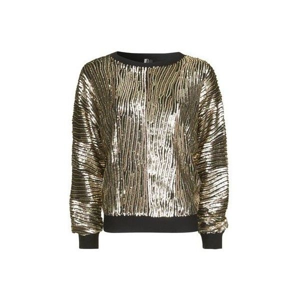Topshop Luxe Sequin Batwing Jumper ($74) ❤ liked on Polyvore featuring tops, sweaters, gold, batwing sleeve tops, party jumpers, crew neck jumper, batwing tops and brown sweater