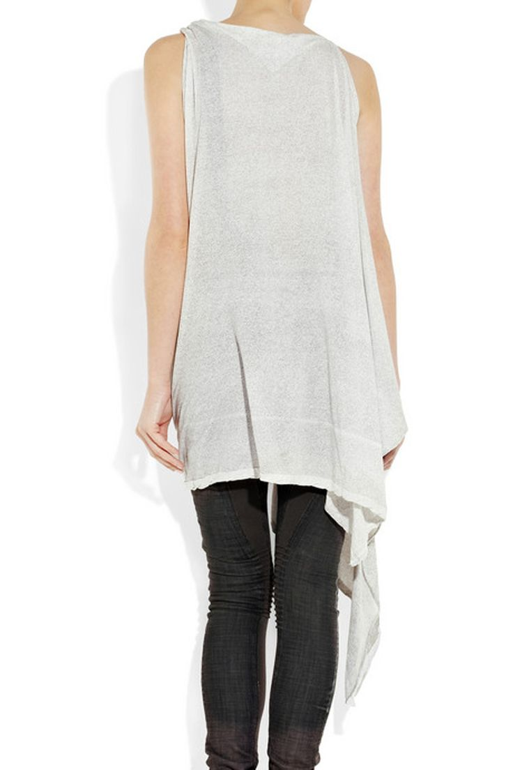 Asymmetric Top by DRKSHDW by Rick Owens for Urban Style: Asymmetric printed cotton tunic by Rick Owens from rear view