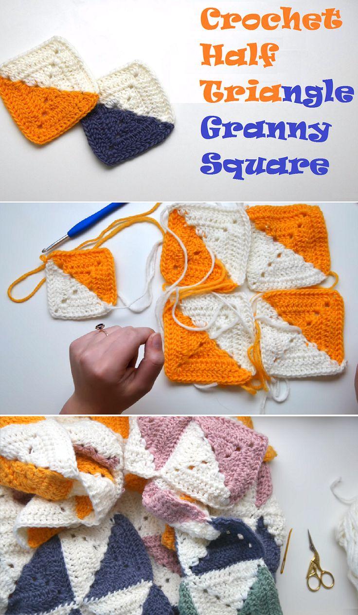 Hakeln Sie Halbes Quadrat Dreieck Oma Square Crochet Sockenstricken Stricken Strickenist Quadratische Muster Hakeln Gehakelte Omadeckchen Grossmuttermuster