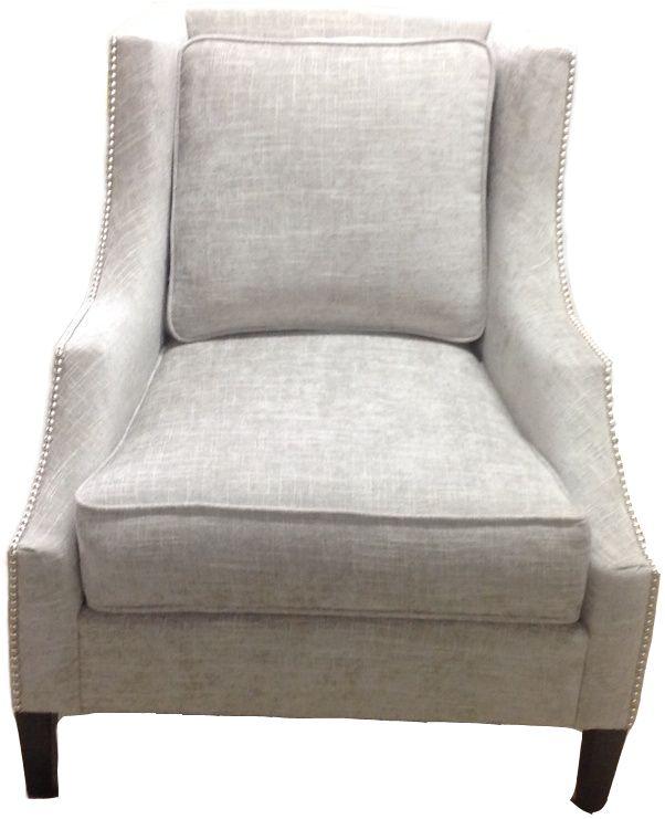 Custom Cary Chair w/ Nails #customfurniture #accentchair #silverchair #interiordesign #chairs