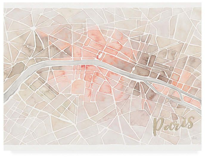 Laura Marshall Watercolor Wanderlust Paris Blush Crop Canvas Art – 15 x 20 – Products