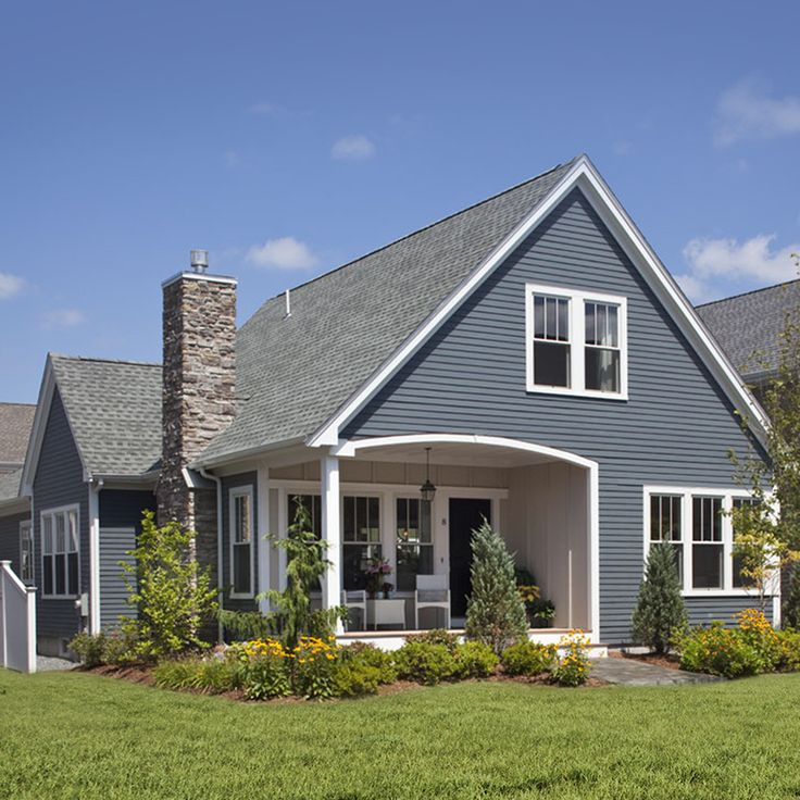 With Blue Siding Homes: 10 Best James Hardie Evening Blue Siding W/ Arctic White