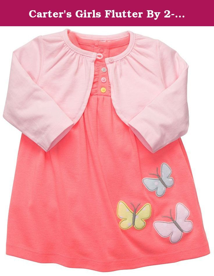 Carter's Girls Flutter By 2-piece Bodysuit Dress Set (NB-24M) (6 Months). She'll look pretty in this combo that features a neon coral bodysuit dress with butterfly appliqué and pink pastel cardigan. Set includes cardigan and neon coral dress with built-in bodysuit bottom Nickel-free snaps on reinforced panel for quick and easy diaper changes Zoom in to see applique on dress.