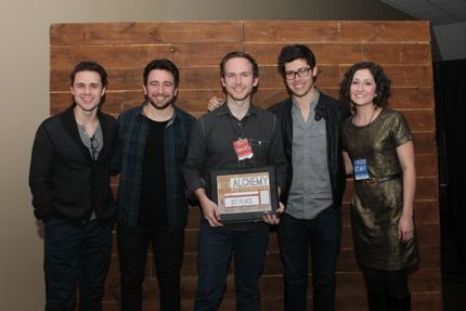 2014 grand prize winner Daniel Moody (center) with judges Kris Allen (from left), Jonathan Smith and Adam Hambrick, and Blackbird Academy Executive Director Jennie Strange.