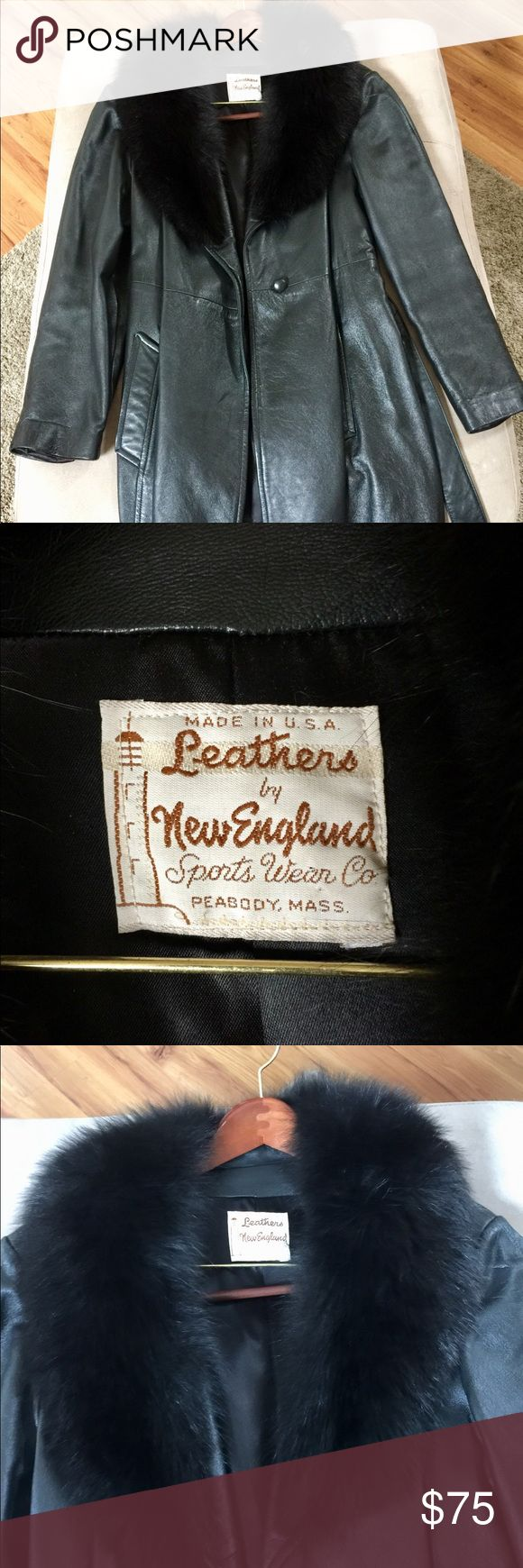 Women's leather and fur coat size medium Great shape, real leather and fur.  Size medium, knee length or so. Jackets & Coats
