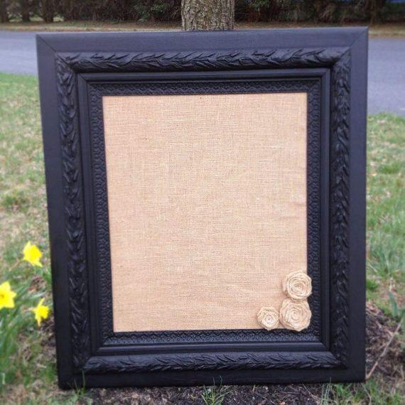 antique upcycled framed burlap memo board cork board black chalkboard roses ornate shabby chic rustic corkboard