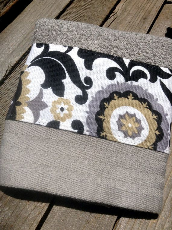 Spa inspired decorative hand towel gray tan and black by mydecor8, $5.75