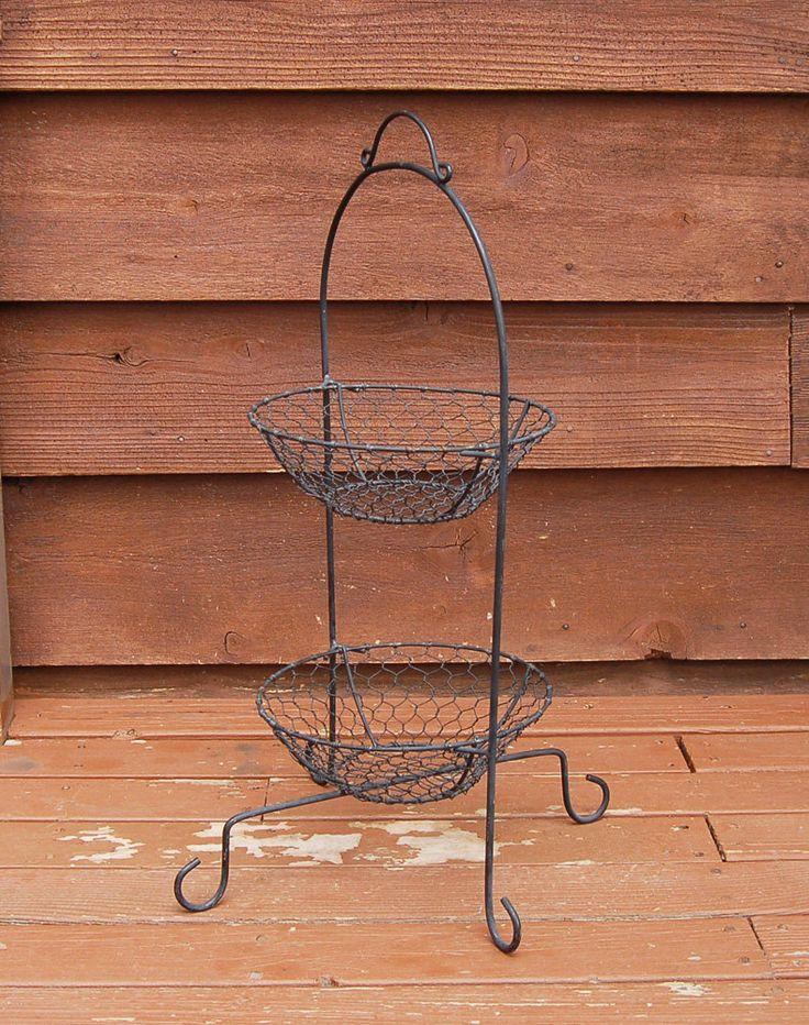 wire basket stand vintage 2 level wire fruit basket veggie bin by on