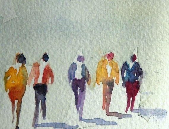 Tiny walking people watercolor