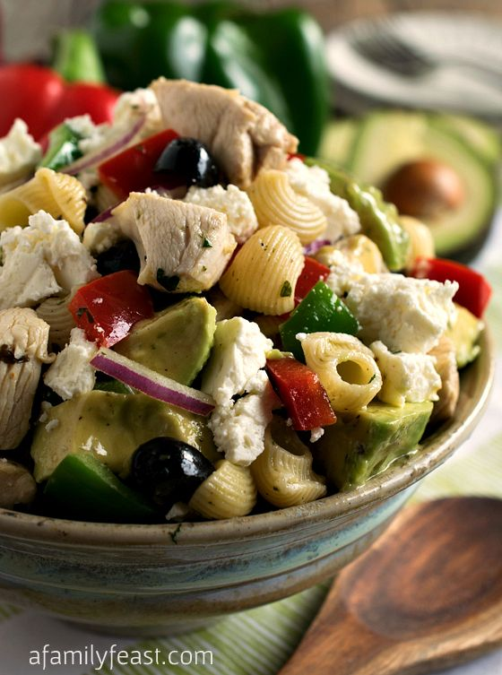 Avocado Chicken Pasta Salad - An easy, healthy and delicious all-in-one meal! The vinaigrette used on this salad is fantastic!