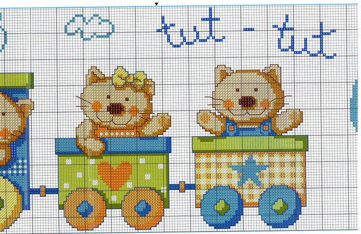 Kitty train 2/3......Solo Patrones Punto Cruz (pág. 425) | Aprender manualidades es facilisimo.com