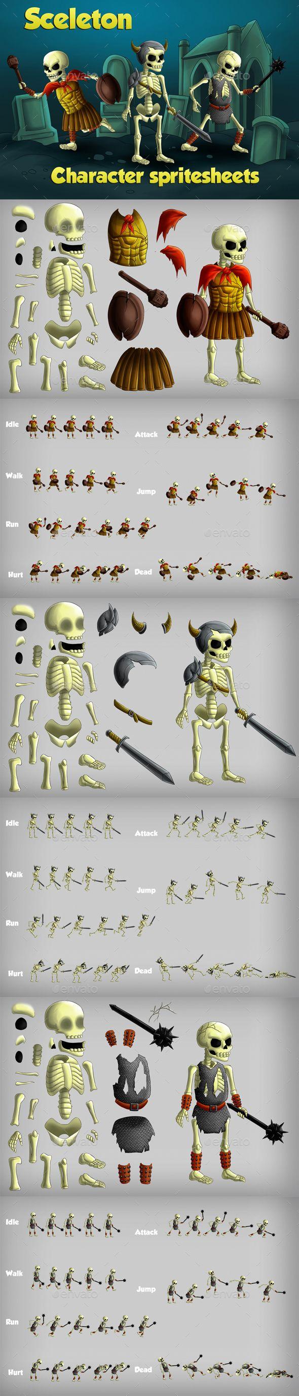 #2D Game Skeleton Character Spritesheet Template - #Game #Skeleton #Sheet #Character #Sprites #Game #Assets #Template #Design. Download here: https://graphicriver.net/item/2d-game-skeleton-character-spritesheet/19511373?ref=yinkira