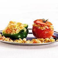 Recept - Gevulde tomaten en paprika's met rijst - Allerhande
