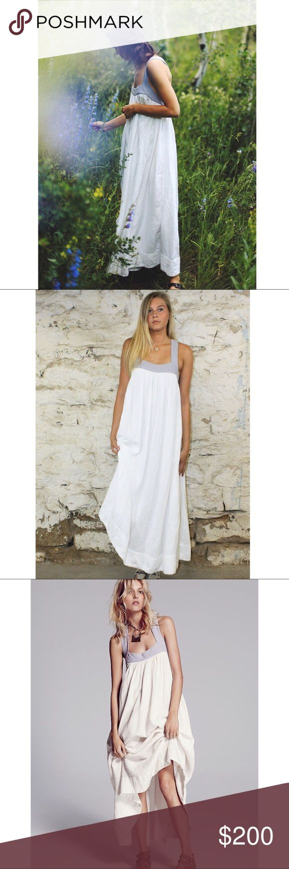 Free People Softly Structured White Maxi Dress Details:  Gauzy linen structured maxi dress with hip pockets. Contrast trim with a low adjustable back and crisscross straps.  Care/Import  Machine Wash Cold  Import  Measurements for size Small Bust: 46.25 in Length: 48.75 in  Smoke free & pet free home  Tags: boho wedding, wedding dress, bridal dress, maternity dress, beach dress Free People Dresses Maxi