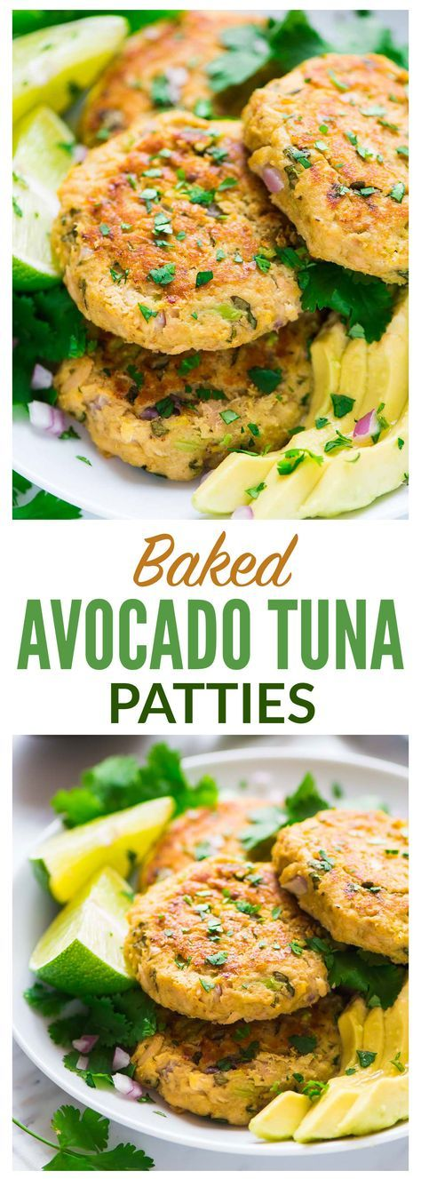 Baked Avocado Tuna Cakes. Only 86 calories each! Quick, easy, and healthy. The best thing you can do with canned tuna! Budget-friendly, simple, and great for fast dinners and lunches. High protein, low carb recipe. wellplated.com | @wellplated