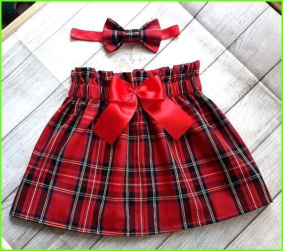 Kleinkind Baby M/ädchen Outfits Briefdruck My 1st Christmas Strampler Bowknot Stirnband Weihnachten 3-teiliges Kleiderset Roter Karierter Rock