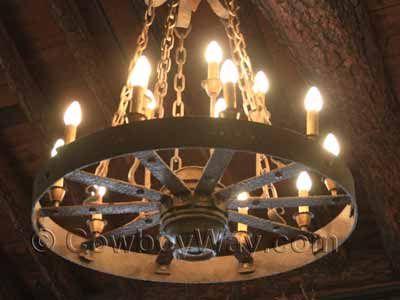 Lighted wagon wheel chandelier