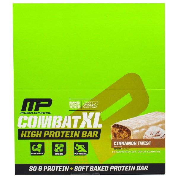 sports-fitness-athletic: Muscle Pharm, Combat XL High Protein Bar, Cinnamon...