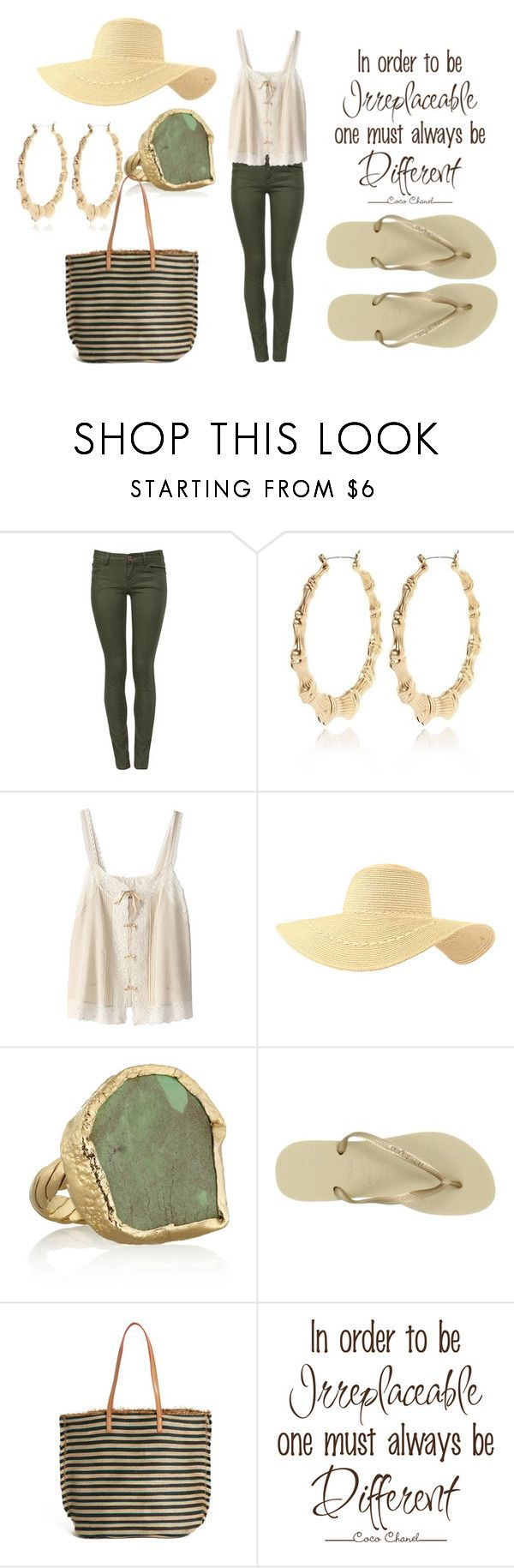 """""""Be Different"""" by jhajny101 ❤ liked on Polyvore featuring Parisian, River Island, Bilitis dix-sept ans, Dara Ettinger, Havaianas, MANGO, Chanel, FlipFlops, floppyhat and hoops"""