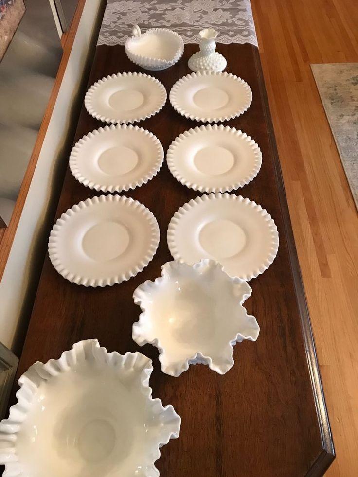RARE! Fenton, white, hobnail, milk glass, 10 piece lot!!! No chips or cracks!! #Fenton
