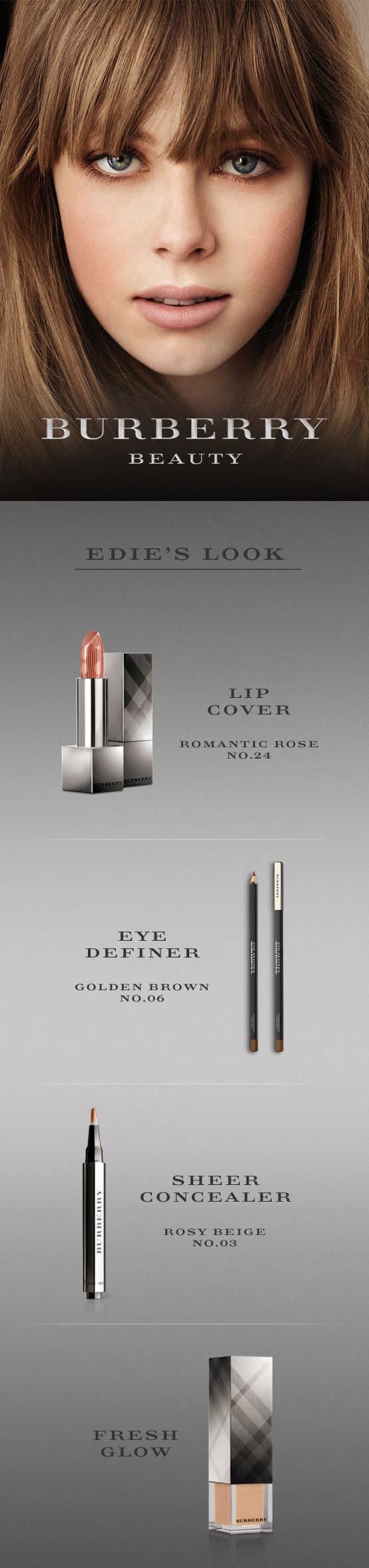 #Burberry Beauty - Edie's Look  what color es is she wearing?!